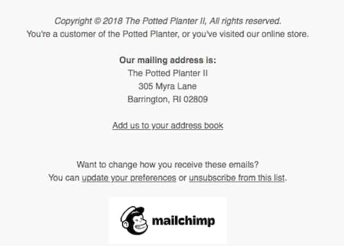 GDPR Compliant Email Footer Mailchimp
