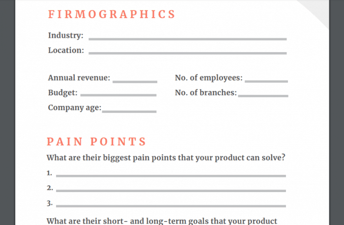 outbound prospecting ideal customer type template